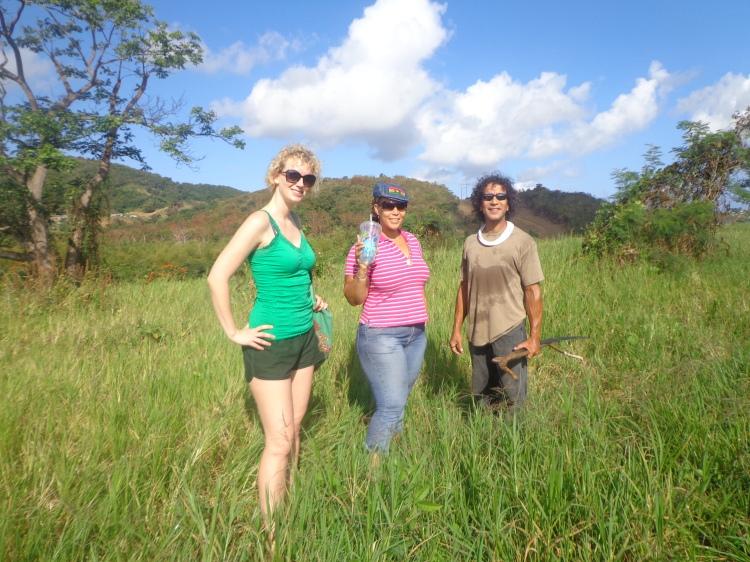 Luquillo Farm Sanctuary:  Elise, Skai and Joe on the land